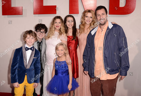 """From left, Kyle Red Silverstein, Braxton Beckham, Drew Barrymore, Alyvia Alyn Lind, Emma Fuhrmann, Bella Thorne, and Adam Sandler arrive at the LA Premiere of """"Blended"""" at the TCL Chinese Theatre, in Los Angeles"""