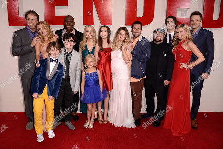 """From left, Kevin Nealon, Bella Thorne, Kyle Red Silverstein, Braxton Beckham, Terry Crews, Wendi McLendon-Covey, Alyvia Alyn Lind, Emma Fuhrmann, Drew Barrymore, Adam Sandler, director Frank Coraci, Zak Henri, Jessica Lowe, and Joel McHale arrive at the LA Premiere of """"Blended"""" at the TCL Chinese Theatre, in Los Angeles"""