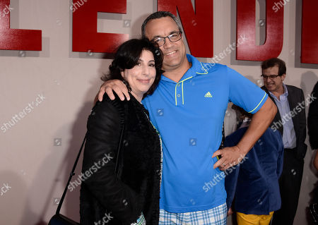 """Sue Kroll, president of worldwide marketing and international distribution for Warner Bros., left, and producer Jack Giarraputo arrive at the LA Premiere of """"Blended"""" at the TCL Chinese Theatre, in Los Angeles"""