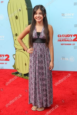 """Stock Image of Actress Jaidan Jiron arrives at the premiere of """"Cloudy with a Chance of Meatballs 2"""" at the Regency Village Theatre on in Los Angeles"""
