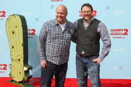 """From left, directors Cody Cameron and director Kris Pearn arrive at the premiere of """"Cloudy with a Chance of Meatballs 2"""" at the Regency Village Theatre on in Los Angeles"""