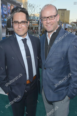 "Rajiv Joseph, left, and Scott Rothman arrive at the premiere of ""Draft Day"" at The Regency Village Theatre, in Westwood, Calif"