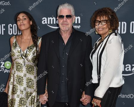 "Blake Perlman, from left, Ron Perlman and Opal Stone arrive at the Premiere of ""Hand of God"" held at the Ace Hotel, in Los Angeles"