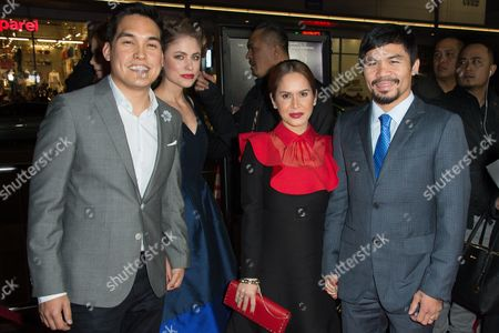 "Ryan Moore, left, guest, Jinkee Pacquiao and Manny Pacquiao attend the Los Angeles Premiere of ""Manny"" at the TCL Chinese Theatre, in Los Angeles"