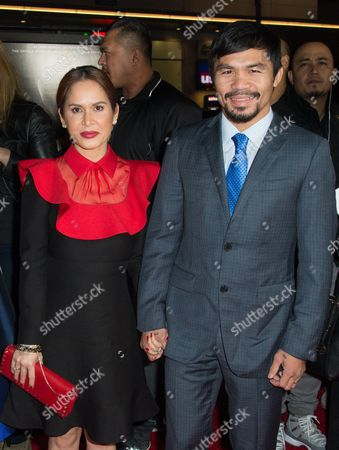"""Jinkee Pacquiao, left and Manny Pacquiao attend the Los Angeles Premiere of """"Manny"""" at the TCL Chinese Theatre, in Los Angeles"""