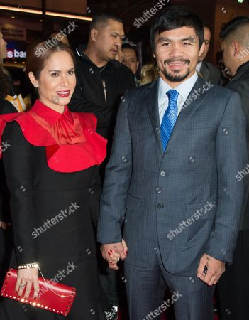 "Jinkee Pacquiao, left and Manny Pacquiao attend the Los Angeles Premiere of ""Manny"" at the TCL Chinese Theatre, in Los Angeles"