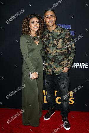 "Paige Hurd, left, and Quincy Brown attend the LA Premiere of ""Meet the Blacks"" held at ArcLight Hollywood, in Los Angeles"