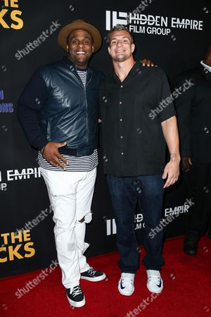"Glen Davis, left, and Rob Gronkowski attend the LA Premiere of ""Meet the Blacks"" held at ArcLight Hollywood, in Los Angeles"
