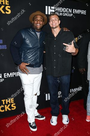 "Stock Picture of Glen Davis, left, and Rob Gronkowski attend the LA Premiere of ""Meet the Blacks"" held at ArcLight Hollywood, in Los Angeles"