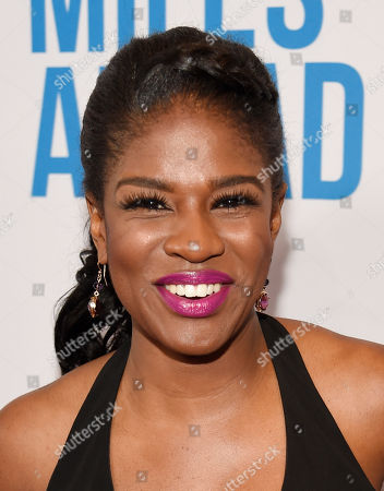 """Edwina Findley poses at the premiere of the film """"Miles Ahead"""" at the Writers Guild Theatre, in Beverly Hills, Calif"""
