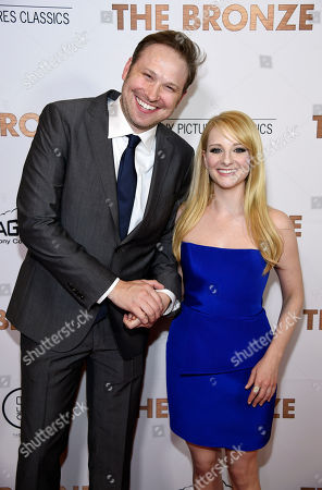 "Winston Rauch, left, and his wife Melissa Rauch, co-writers of ""The Bronze,"" pose together at the premiere of the film at the Pacific Design Center, in West Hollywood, Calif"