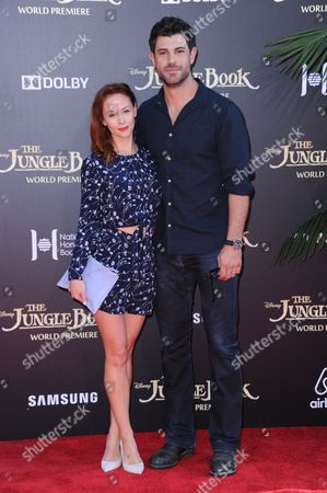 "Stock Photo of Emily Montague, left, and Damon Dayoub arrive at the premiere of ""The Jungle Book"" at the El Capitan Theatre, in Los Angeles"