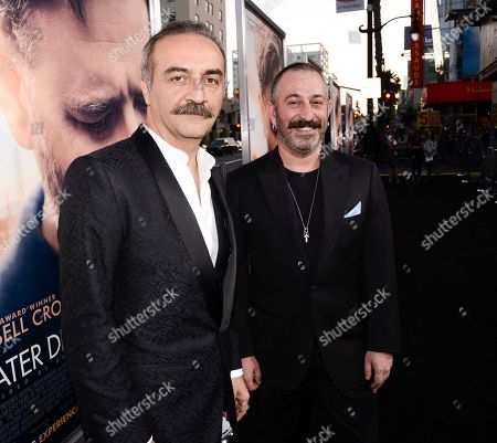 "Actor Yilmaz Erdogan, left, and actor Cem Yilmaz attend the premiere of the feature film ""The Water Diviner"" in Los Angeles on"
