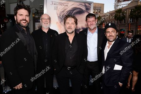 """From left to right, producer Keith Rodger, producer Andrew Mason, actor and director Russell Crowe, producer James Packer, and director Brett Ratner attend the premiere of the feature film """"The Water Diviner"""" in Los Angeles on"""