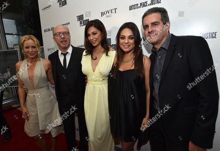 "From left, Maria Bello, Paul Haggis, Moran Atias, Mila Kunis and Michael Nozik arrive at Los Angeles Premiere of ""Third Person"", in Los Angeles"
