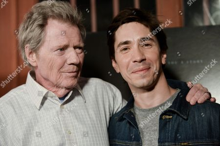 """Michael Parks, left, and Justin Long arrive at the LA Premiere Of """"Tusk"""" on Tuesday, Sept.16, 2014, in Los Angeles"""