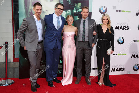 """From left, Jason Dohring, writer/producer/director Rob Thomas, Kristen Bell, Ryan Hansen and Amanda Noret arrive at the LA Premiere of """"Veronica Mars"""", in Los Angeles"""
