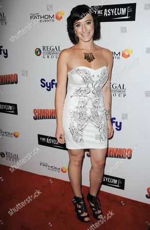 "Stock Picture of Barrett Periman arrives at the premiere of ""Sharknado"" at the L.A. Live Theater on in Los Angeles"