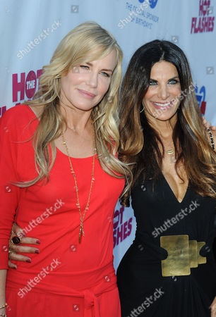"""Daryl Hannah, at left, and Hilary Shepard attends LA Premiere of """"The Hot Flashes""""at The ArcLight Hollywood on in Los Angeles. The Hot Flashes premiere will also serve as a benefit for its official charity partner, the American Cancer Society"""