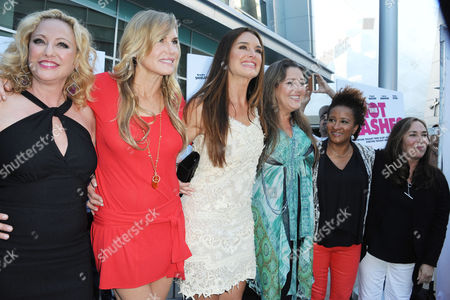 """Stock Picture of Virginia Madsen, from left, Darryl Hannah, Brooke Sheilds, Camryn Manheim, Wanda Sykes, and Susan Seidelman arrives at the LA premiere of """"The Hot Flashes"""" at the ArcLight Hollywood on in Los Angeles. The Hot Flashes premiere will also serve as a benefit for its official charity partner, the American Cancer Society"""
