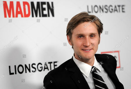 "Mad Men"" cast member Aaron Staton poses at the season six premiere of the drama series at the Directors Guild of America on in Los Angeles"