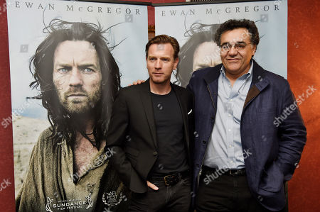 """Ewan McGregor, left, star of """"Last Days in the Desert,"""" poses with the film's writer/director Rodrigo Garcia at a special screening of the film at Laemmle's Royal Theatre, in Los Angeles"""