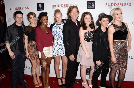 "Noel Fisher, and from left, Shanola Hampton, Danika Yarosh, writer/director William H. Macy, Emma Kenney, Ethan Cutkosky and Emily Bergl arrive at the Los Angeles VIP screening of ""Rudderless"" at The Vista Theater on"