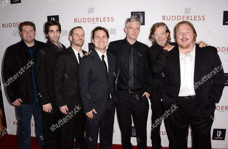 """Producers Jeff Johnson, and from left, Joey Bicicchi, Gary Michael Schultz, Tyler Jackson, Ben Ruffman, director/writer William H. Macy and producer Keith Kjarva arrive at the Los Angeles VIP screening of """"Rudderless"""" at The Vista Theater on"""