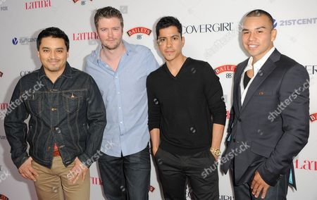 From left, Douglas Spain, David J. Phillips, Jeremy Ray Valdez, and Joseph Julian Soria arrive at the Latina Magazine's Hot Hollywood List event at The Redbury Hotel on in Los Angeles