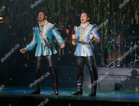 Jon Huertas and Seamus Dever perform onstage at the 14th annual 'Les Girls' at Avalon on in Hollywood, California