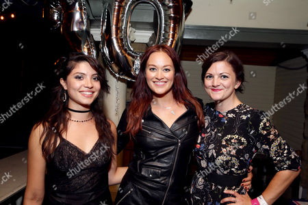"""Veronica Osorio Videtta, Writer/Actor Mamrie Hart and Joselyn Hughes seen at Lionsgate Premiere of """"Dirty 30"""" after party at ArcLight Cinemas, in Los Angeles"""