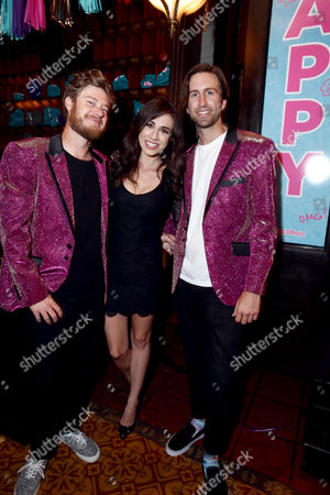"""Kevin Hughes, Colleen Ballinger and Tom Banks seen at Lionsgate Premiere of """"Dirty 30"""" after party at ArcLight Cinemas, in Los Angeles"""