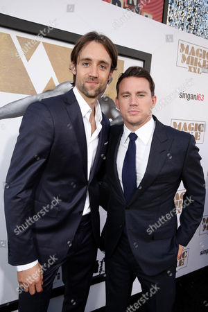 """Writer/Producer Reid Carolin and Channing Tatum seen at the Los Angeles World Premiere of Warner Bros. Pictures' """"Magic Mike XXL"""", in Los Angeles"""