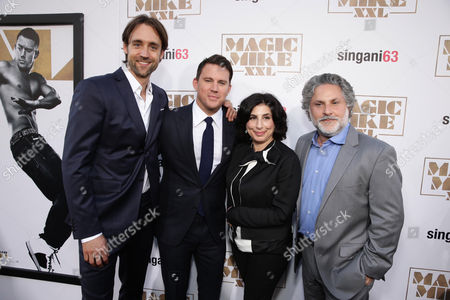 """Writer/Producer Reid Carolin, Channing Tatum, Sue Kroll, President of Worldwide Marketing and International Distribution at Warner Bros. Pictures and producer Nick Wechsler seen at the Los Angeles World Premiere of Warner Bros. Pictures' """"Magic Mike XXL"""", in Los Angeles"""