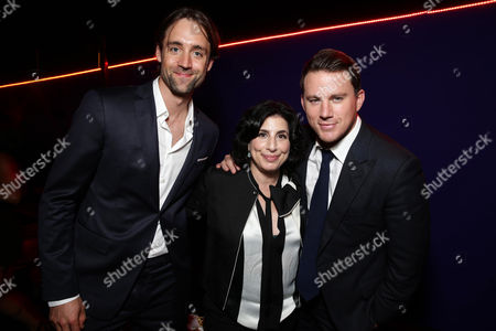 """EXCLUSIVE- Writer/Producer Reid Carolin, Sue Kroll, President of Worldwide Marketing and International Distribution at Warner Bros. Pictures and Channing Tatum seen at the Los Angeles World Premiere of Warner Bros. Pictures' """"Magic Mike XXL"""", in Los Angeles"""