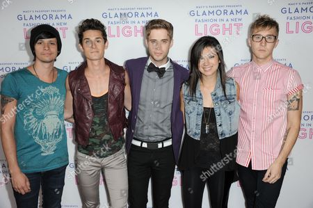 From left, John Gomez, Stephen Gomez, Brian Dales, Jess Bowen, and Josh Montgomery arrive at the Macy's Passport's Glamorama at The Orpheum Theatre on in Los Angeles