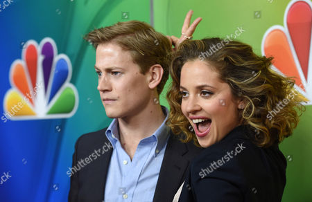 """Gavin Stenhouse, left, and Margarita Levieva, cast members in the television series """"Allegiance,"""" pose for photographers at the NBC 2015 Winter TCA Press Tour at The Langham Huntington Hotel, in Pasadena, Calif"""