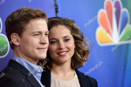 """Gavin Stenhouse, left, and Margarita Levieva, cast members in the television series """"Allegiance,"""" pose together at the NBCUniversal 2015 Winter TCA Press Tour at The Langham Huntington Hotel, in Pasadena, Calif"""