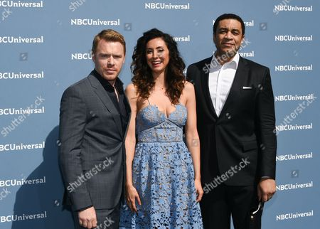 Diego Klattenhof, left, Mozhan Marno and Harry Lennix attend the NBCUniversal 2016 Upfront Presentation at Radio City Music Hall, in New York