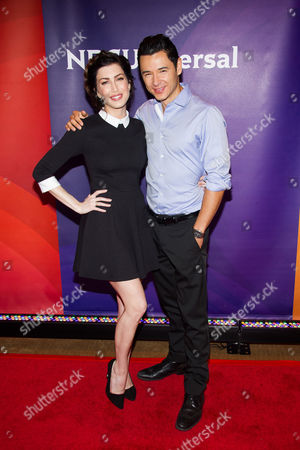Stevie Ryan and Dr. Mike Dow arrive at the NBCUniversal New York Summer Press Day event at The Four Seasons Hotel, in New York
