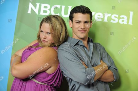Lily Mae Harrington and Michael Weismann attend the second day of NBCUniversal's 2012 Summer Press Tour at the Beverly Hilton Hotel, in Beverly Hills, Calif
