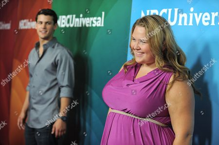 Michael Weismann and Lily Mae Harrington attend the second day of NBCUniversal's 2012 Summer Press Tour at the Beverly Hilton Hotel, in Beverly Hills, Calif