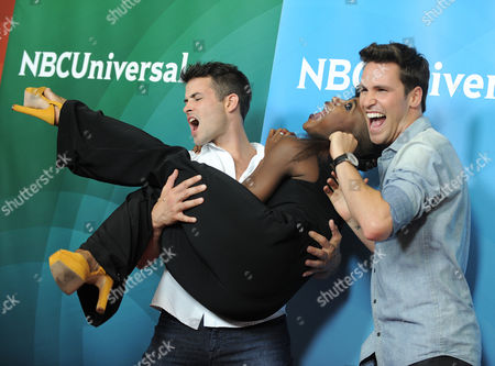 Stock Picture of Kyle Robinson, Taja Riley and Nick Lazzarini attend the second day of NBCUniversal's 2012 Summer Press Tour at the Beverly Hilton Hotel, in Beverly Hills, Calif
