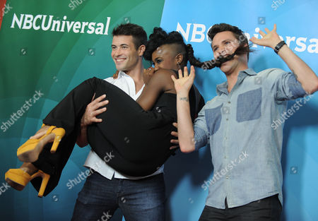 Kyle Robinson, Taja Riley, and Nick Lazzarini attend the second day of NBCUniversal's 2012 Summer Press Tour at the Beverly Hilton Hotel, in Beverly Hills, Calif