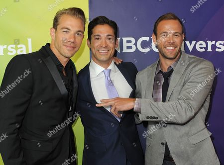 L-R) Tim Lopez, Ernesto Arguello and Ben Patton attend NBCUniversal's 2012 Summer Press Tour at the Beverly Hilton Hotel, in Beverly Hills, Calif