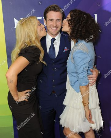 From left, Amber Kelleher-Andrews, Matt Hussey and Tracy McMillian attend NBCUniversal's 2012 Summer Press Tour at the Beverly Hilton Hotel, in Beverly Hills, Calif