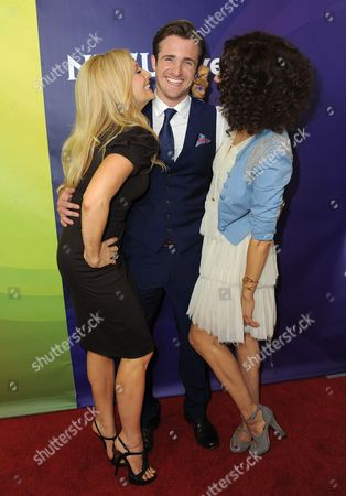 Amber Kelleher-Andrews, Matt Hussey and Tracy McMillan attend NBCUniversal's 2012 Summer Press Tour at the Beverly Hilton Hotel, in Beverly Hills, Calif