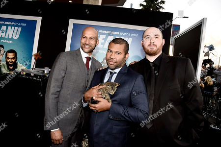 """Producer/Actor Keegan-Michael Key, Keanu, Writer/Producer/Actor Jordan Peele and Director Peter Atencio seen at New Line Cinema Los Angeles Premiere of """"Keanu"""" at ArcLight Cinerama Dome Theater, in Hollywood"""