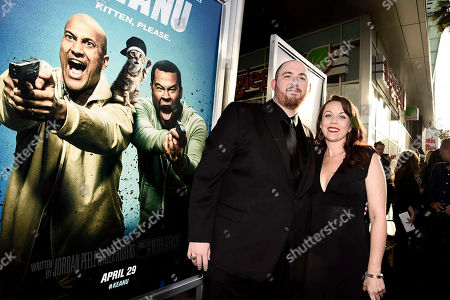 """Director Peter Atencio and guest seen at New Line Cinema Los Angeles Premiere of """"Keanu"""" at ArcLight Cinerama Dome Theater, in Hollywood"""