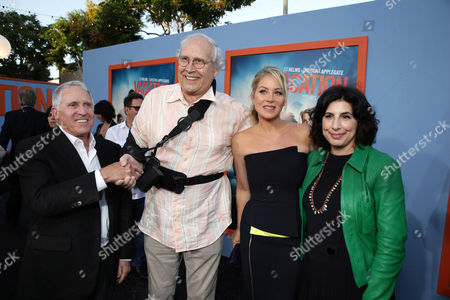 "Dan Fellman, President of Domestic Distribution for Warner Bros. Pictures, Chevy Chase, Christina Applegate and Sue Kroll, President of Worldwide Marketing and International Distribution at Warner Bros. Pictures seen at the New Line Cinema presents the Premiere of ""Vacation"" held at Regency Village Theatre, in Westwood, Calif"